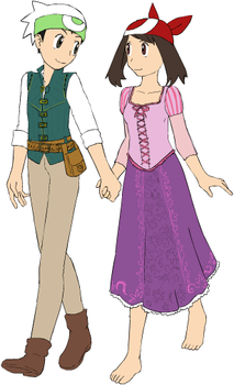 Brendan and May as Eugene and Rapunzel by ChipmunkRaccoonOz