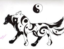 YinYang Wolf or wolves by WaffleMistress