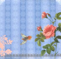 Blue with rose background by jinifur