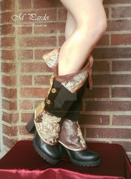 Steampunk spats with wooden buttons side closure - by arcticorset