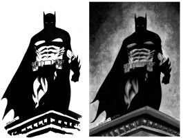 batman black and white by juancastroinker