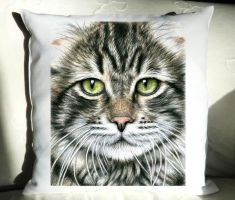 Catsface Pillow by ArtsandDogs