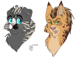 Sold Cat Headshots- TwinSpirits by MetalWolfGemstone