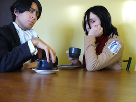 Drinking tea with Mikasa by Phill-GreenWolf