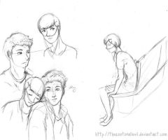 Hazel Grace and Augustus sketches by TheRootOfAllEvil