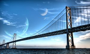 planets above the bridge by Johndoop