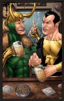 Loki and Black Adam colored by dwaynebiddixart