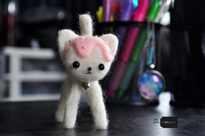 Needle felted pastry kitty by FluffyParcel