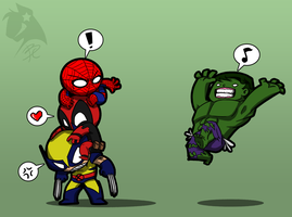 Unwanted Group Hug-Marvel by BlackCatWhiteStar