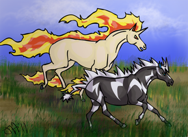 Zebstrika VS Rapidash by Kame-Kami