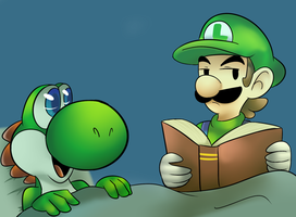 Tell Yoshi  a Bed time story ^^ by raygirl12
