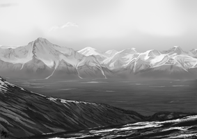 Digital Painting Exercise 2: Mountains by a3dkid