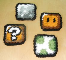 Super Mario World Coasters by Craftigurumi