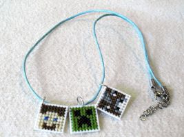 Minecraft Cross Stitch Necklace by agorby00