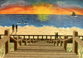 sunset beach mural by ruby-misted-eyes