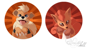 Badges Growlithe Vulpix by hecatehell