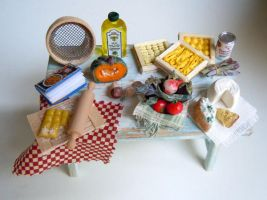 Miniature table - italia pasta by miniacquoline
