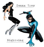 commish: Donna and Nightwing by nekoshiei