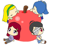 Starlight, Kaye, Shy and Lily with an apple! by EKKawaii
