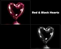 Red and Black Hearts by klen70