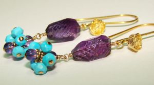 Amethyst + Turquoise Earrings by CrysallisCreations