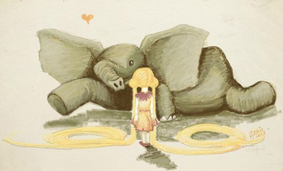 Elephant Love Sketch by fritchie