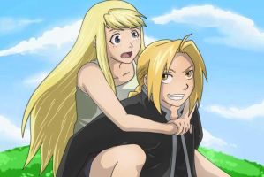 FMA_Ed and Winry by yleyn