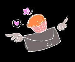 WINGED MAIL CUPCAKE FLOWER GO by antichange