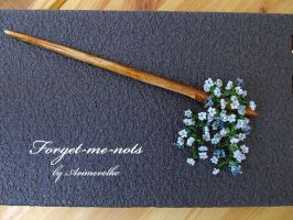 Hairstick 'Forget-me-nots' by aoimevelho