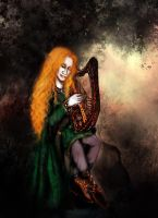 Aodh and his harp by Dollysmith
