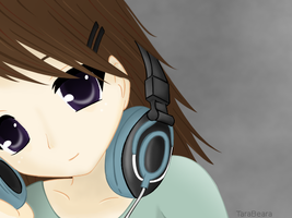 Headphones Girl by TaraBearaLove