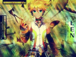 Len Kagamine Technno Wallpaper by DiKnow