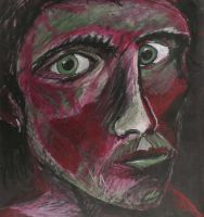 Self Portrait - Face in  Red and Green by RobLock