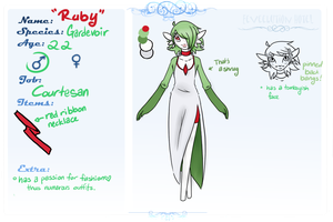Robin 'Ruby' Gervais the Gardevoir by TwitchyGreyFox