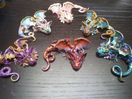 Baby Dragons made with polymer clay by AstridMakosla
