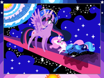 Time for Dawn, Twilight Celestia Luna pixel pic by FoldawayWings