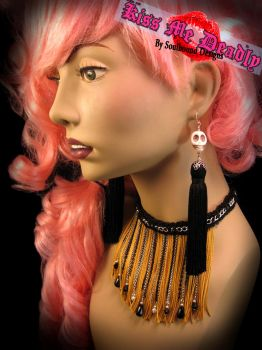 Kiss Me Deadly- Long gold fringe choker by SoulboundDesigns
