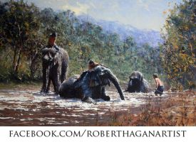 'Bathing Giants' Oil on Cnavas - By Robert Hagan by robert-hagan