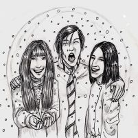 Lily, James and Severus in the sphere of snow by Atanapotnia