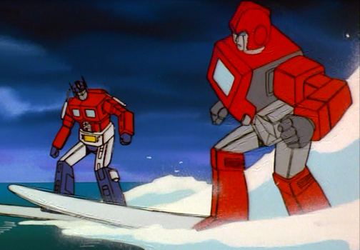Optimus Prime and Ironhide Surfing by ChromiaGal