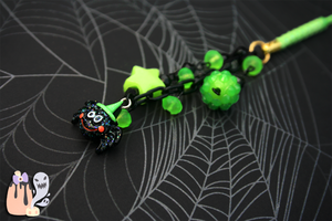 Acid Green Kawaii Halloween Spider Cellphone Charm by 1stQueenOfHalloween