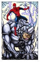 Spidey and Rhino002 by BobbyJackWright