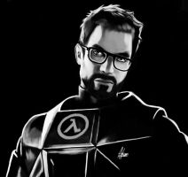 Gordon Freeman Black And White by Wild-Theory