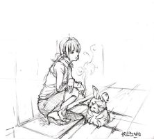 A girl and her rabbit by Abyssmo