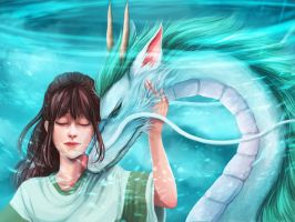 Chihiro and Haku || with painting process by fcnjt