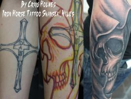 Cross skull cover up by Craig Holmes by CraigHolmesTattoo
