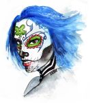 Commission - Skull Girl (watercolors) by Sabu-chan