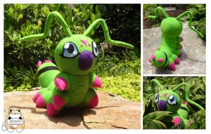 Wormmon Plush by JanellesPlushies