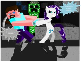MINE Little MINECraft: Rarity and Steve by PeteFlavey