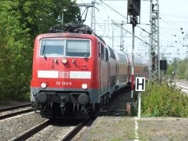 111 133 with a double-decker train by damenster
